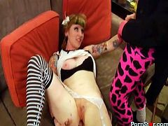 Thick white babe with mad curves and cool tattoos all over her arms Ava Pearl gets wild with cocky clown. Dude fucks her puffy cunt with dildo and gets his big dick sucked.