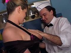 Lisa Sparxxx has some fun with two guys who are totally charmed by her massive natural tits. They play with her jugs and worship her freshly shaven pussy as well.