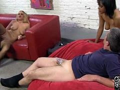Cuckold Sessions brings you a hell of an interracial free porn video where you can see how the alluring blonde and brunette Britney Young & Lola Hart share big black cock while a worthless dude watches.