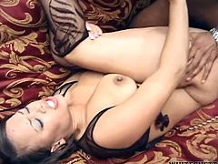 Long and light haired rapacious lassie with massive boobs posed on knees and presented her black guy nice BJ. A little later her dumpy cooch got hardcore mish pose poked. Look at this filthy ebony babe in Fame Digital sex video!