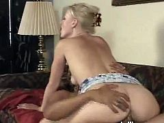 Horny blonde chick gives a blowjob and also gets her vagina licked in a garden. Then they enter the house and Sharon gets nailed hard on a sofa.