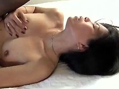 Sexy brunette is having fun with her man in homemade sex scene. They fuck doggy style and in missionary position and enjoy it much.