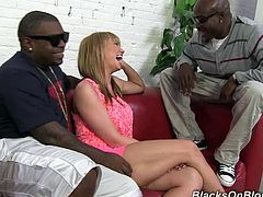 Nasty Maya Hills gets her pink pussy fondled. Then she gives a skillful blowjob to three Black guys. Maya Hills gets her ass and pussy torn up.