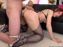 Sandy haired good looking bitch rested doggy way on floor and passionately waited for harsh doggy way anal drilling in dirty threesome. Watch this awesome anal fuck in Fame Digital porn clip!