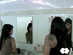 Two zealous raven haired lesbians have wicked lesbian sex in bed. Asian babe licks her white girlfriend's sweet shaved cunt and stretches her butthole with sex toy.