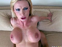 Provocative porn actress Nikki Benz gets down on her knees taking juicy cock in her mouth. She sucks hard dick vigorously. Filthy mom gets tit fucked before she rides hard shaft on top.