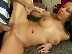 Amazing brunette chick with a gorgeous body is having fun with her man on a sofa. She takes his fat dong in a number of positions and she loves every second of this session.