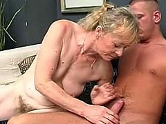 After sucking cock like a true master, blonde granny finally gets her load