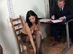 This horny brunette wants to become a secretary so bad. Her potential boss and his assitant make this cutie undress and start to play with her tight shaved pussy.