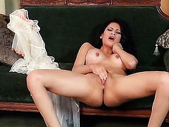 Vanessa Veracruz with huge tits and trimmed bush spends time fingering her wet hole