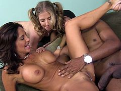 They want to have a wild interracial threesome. Sure, it's pretty rare to watch how a black dude bangs a sexy milf and her petite daughter at a time.