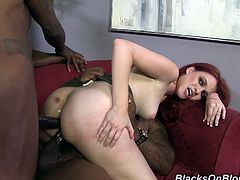 Dazzling Andrea Sky sucks big black cocks and balls passionately. This ginger girl gets spit roasted and double penetrated.