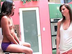 Delilah Davis and Sami St Clair meet in the kitchen. They are both summary dressed and one of them is even topless. They have a sexy chat while sitting there.
