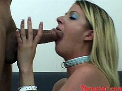 Anita Blue is pretty skilled at deepthroat blowjobs. She lies on her back with her head hanging over the edge of couch. Thick 8 incher goes deep down her throat balls deep. Bitch chokes smearing that pole with her warm spit.