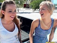 Emma Mae and her faulous GF pet each other and get horny. Then they give a blowjob to some lucky dude and jump on his manhood by turns.