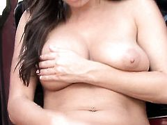 Taylor Vixen with juicy jugs and bald cunt gives pleasure to herself using toy