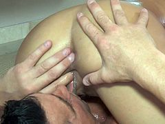 Sweet brunette gives warm massage before getting down to business
