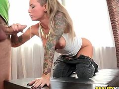 Cocky Christy Mack takes jeans off and gets her vagina licked. This amazing babe also gives a blowjob and then gets banged from behind in a standing position.