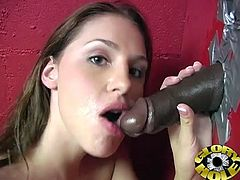 She went in private room to masturbate and waited to get that huge black cock. She gives that lucky dude amazing blowjob and get facial.