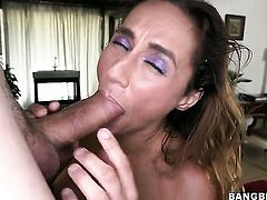 Fiona Rivers gets her throat stuffed full of rod in blowjob action with horny bang buddy