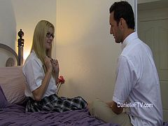 Stunning Danielle gives a blowjob to the luckiest man in this world. Then she lifts a skirt up and gets rammed from behind. The guy also cums on Danielle's pretty face.