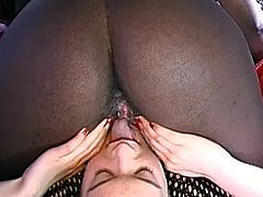 Big ass ebony along horny brunette masturbating like sluts during cam show