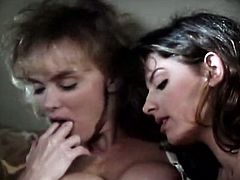 Well figured lesbian girls feel up each other starting passionate sex on a couch. They finger fuck each other passionately. Hell arousing retro porn clip presented by The Classic Porn.