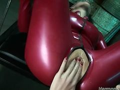 Look at this horny bitches, dude! I' m so excited and has a very strong erection on it. Does they excite you, huh? Okey bro, jerk off and enjoy this Harmony Vision lesbian latex sex!
