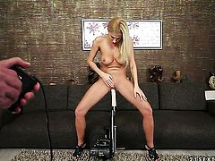 Blonde Clara G. with giant breasts spends time rubbing her beaver