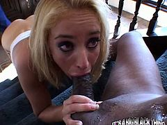 Leg spread freaky African dude rests on stairs and gets his thirsting monstrous black penis energetically swallowed deep throat by blond head bitchy pussy. Watch this interracial blowjob in My XXX Pass porn clip!