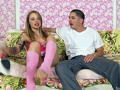 Make sure you get a load of this hardcore scene where the naughty blonde teen Alyssa Branch is filled by cum after being fucked.