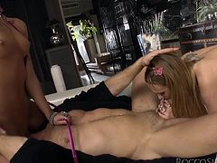Great threesome sex with two cock thirsty ladies