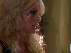 Lindsey Meadows and Stormy Daniels are getting naughty indoors. The blondes lick and finger each other's cunts in the presence of some and then please the guy with a blowjob.