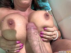 Beautiful red-haired milf Diamond Foxxx with perfect huge boobs and tight smooth pussy is a stunning fuck hungry woman. She sucks fat dick and gets her juggs banged before pussy pounding.