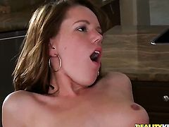 Brunette is so wet and so horny that gives mouthjob to Brannon Rhodes just like crazy