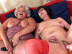 Mature ladies with stiff toys ready to please them in a sexy lesbian show