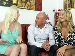 Get a load of this great hardcore scene where two sexy blondes give you a boner as they have a threesome with a big cock.