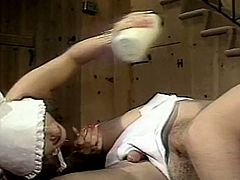 Blow minded blond head dude greedily eats haired kitty of his small boobs dark haired hot blooded sexploitress and gets nice cock suck as well. Take a look at this kinky freaks in The Classic Porn sex clip!