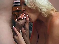 Lustful mature woman gives a blowjob and then lies down on a pool table. She gets fucked in a missionary position and gets a mouthful.