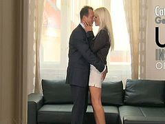 This is a fun fantasy scenario as George plays estate agent to Kathy's business woman! She's such a busy woman that she rarely finds herself in a room with a man and a bed! In fact she is having trouble recalling the last time she was fucked, time to fix that!