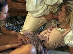 Alektra Blue, Jessica Drake and Kortney Kane wearing costumes are getting naughty with three men indoors. They please them with blowjobs and then fuck in cowgirl position.