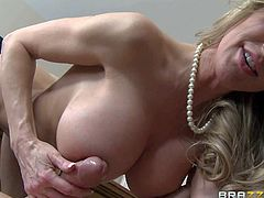 Gorgeous mature beauty Brandi Love with massive tits is his dangerously sexy step-mom. Hot milf with toned body and massive melons enjoys his cock in her wet experienced pussy. She is fucking horny!