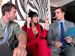 This curvy MILF works with two partners in her house. They get tired after several hours. So, they have a wild threesome sex to relax. This hot MILF blows dicks passionately and gets banged in her dripping pussy.
