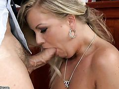 Blonde Sunny Diamond bouncing on dudes sturdy meat stick