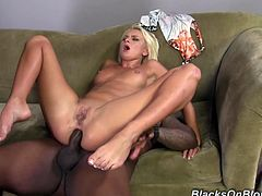 Slutty blonde Ivana Sugar is getting naughty with two black hunks. She sucks and rubs their gigantic boners and then gets her cunt and ass banged at the same time.
