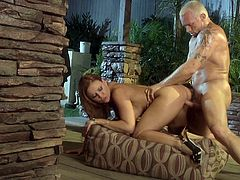 Horny blonde Janet Mason is having a nice time with her man on the patio. They fondle each other and have oral sex and then fuck doggy style and in cowgirl position.