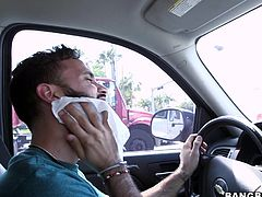 She is int he back seat fooling around with her man and their driver cruises around the city. She is really horny so she tells the driver to stop by the road so she can give her boyfriend head. She spits on his dick and even rubs his cock head on her nipples. What a kinky and dirty slut Courtney is. Will she fit his entire dick in her mouth?