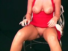 She Shows Her Natural Tits and Shaved Pussy