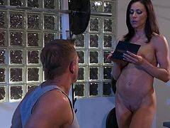 Sizzling brunette milf Kendra Lust shows her shaved cunt to some man and lets him lick and finger it. Then they have sex and Kendra licks the stud's weiner clean.