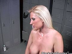 Share this with your friends! Watch a blonde pornstar, with gigantic boobs and a smooth twat, while she goes hardcore with black men in a locker room.